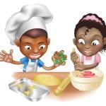 Two children having fun in the kitchen — Stock Vector