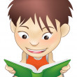 Young boy reading a book — Stock Vector