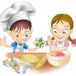 Two children having fun in the kitchen - Stock Vector
