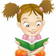 Illustration young girl reading book - Stock Vector