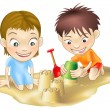 Two children playing in the sand — Stock Vector
