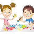 Two young children playing with paints - Stock Vector