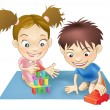 Two children playing - Image vectorielle