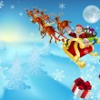 Santa in his sleigh — Stock Vector