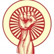 Soviet propaganda poster style fist - Stock Vector