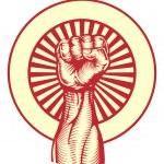 Soviet propaganda poster style fist — Stock Vector #6578391