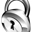 Black and white padlock — Stock Vector