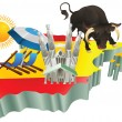Illustration Spanish tourist attractions in Spain — Stock Vector