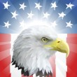 Patriotic American Eagle and Flag — Stockvectorbeeld