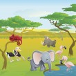 Cute African safari animal cartoon scene — Vector de stock