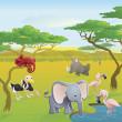 söt afrikansk safari djur tecknade scen — Stockvektor