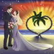 Tropical beach wedding illustration - Stock Vector