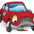 Sad broken down cartoon car - Stock Vector