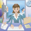 Business woman multitasking illustration — Vettoriali Stock