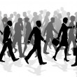 Stock Vector: Business walking crowd rushing