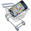Smart phone shopping cart concept - Stock Vector
