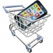 Smart phone shopping cart concept — 图库矢量图片