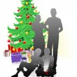 Stock Vector: Family Christmas