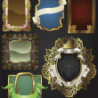 Vintage retro gold frames and labels — Vettoriali Stock