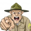 Cartoon angry army drill sergeant shouting - Stock Vector