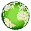 Floral flower globe concept - Stock Vector