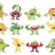 Stock Vector: Set of colourful fruit character mascots