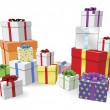 Stock Vector: Stacks of presents concept