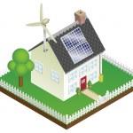 Sustainable renewable energy house — Stock Vector