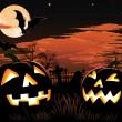 Halloween graveyard background — Stock Vector