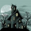 Stock Vector: Creepy haunted ghost house scene illustration