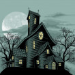 Creepy haunted ghost house scene illustration - Stock Vector