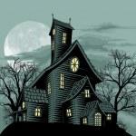Creepy haunted ghost house scene illustration — Stock Vector