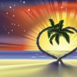 Romantic beach heart palm trees illustration — Vector de stock
