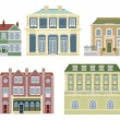 Stock Vector: Luxury old fashioned houses buildings