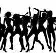 Beautiful women dancing silhouettes — Stock Vector #6579123