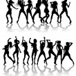 Beautiful women dancing silhouettes - Stock Vector