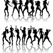 Beautiful women dancing silhouettes — Stock Vector #6579126