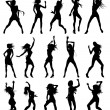Stock Vector: Beautiful women dancing silhouettes