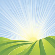 Idyllic green fields with sunshine rays and blue sky — Stock Vector