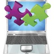 Stock Vector: Jigsaw puzzle pieces flying out of laptop computer