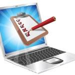 Online survey laptop clipboard concept — Stock Vector