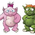 Cute monster cartoon characters — Stock Vector