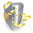 Safe with gold coins flying out - Imagens vectoriais em stock