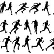 Runners running silhouettes — Stock Vector #6579460