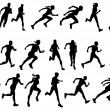Runners running silhouettes — Stock Vector