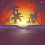 Illustration of a beautiful beach scene at sunset — Stock Vector