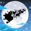 Santa in sled silhouette against full moon - Stock Vector