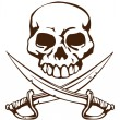 Pirate skull and crossed swords symbol — Stockvektor