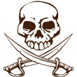 Pirate skull and crossed swords symbol — 图库矢量图片