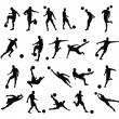 Soccer football player silhouettes — Stock vektor